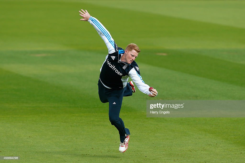 <a gi-track='captionPersonalityLinkClicked' href=/galleries/search?phrase=Ben+Stokes&family=editorial&specificpeople=6688979 ng-click='$event.stopPropagation()'>Ben Stokes</a> dives to take a catch during an England Nets Session at The Kia Oval on August 14, 2014 in London, England.