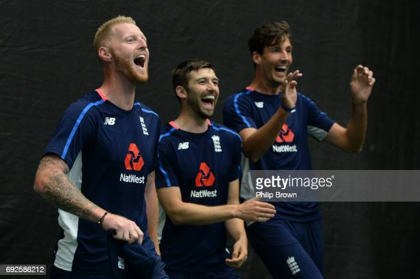 Ben Stokes Mark Wood and Steven Finn of England react during a net session at the Swalec Stadium ahead of the ICC Champions Trophy match between...