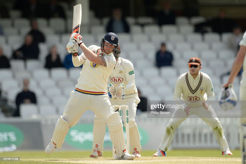 Ben Stokes of Durham bats during day three of the Specsavers County Championship Division One match between Surrey and Durham at the Kia Oval on May 3, 2016 in London, England.