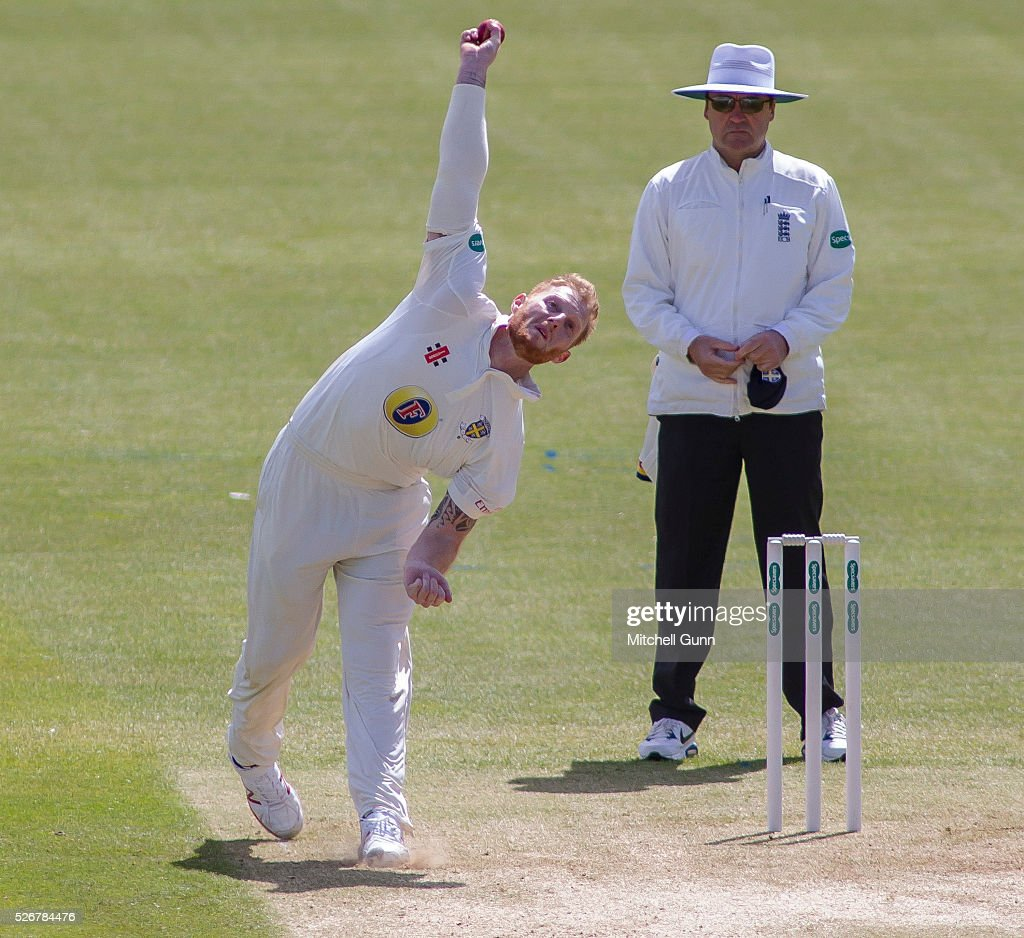 <a gi-track='captionPersonalityLinkClicked' href=/galleries/search?phrase=Ben+Stokes&family=editorial&specificpeople=6688979 ng-click='$event.stopPropagation()'>Ben Stokes</a> of Durham bowling during the Babcock Trophy rugby union match between The British Army and the Royal Navy played in Twickenham Stadium, on April 30, 2016 in Twickenham, England.
