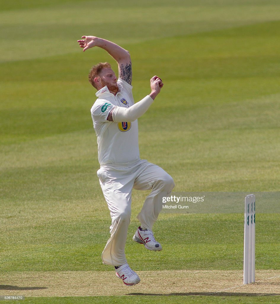 <a gi-track='captionPersonalityLinkClicked' href=/galleries/search?phrase=Ben+Stokes&family=editorial&specificpeople=6688979 ng-click='$event.stopPropagation()'>Ben Stokes</a> of Durham bowling during the Specsavers County Championship Division One match between Surrey and Durham at the Kia Oval Cricket Ground, on May 01, 2016 in London, England.