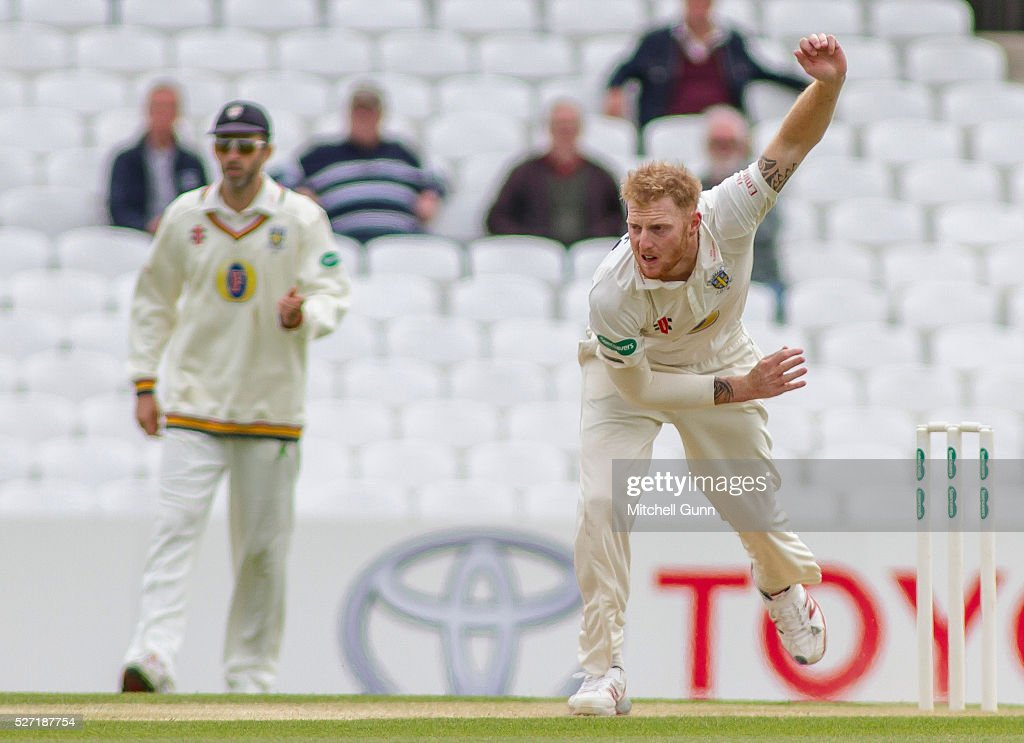 <a gi-track='captionPersonalityLinkClicked' href=/galleries/search?phrase=Ben+Stokes&family=editorial&specificpeople=6688979 ng-click='$event.stopPropagation()'>Ben Stokes</a> of Durham bowling during the Specsavers County Championship Division One match between Surrey and Durham at the Kia Oval Cricket Ground, on May 02, 2016 in London, England.