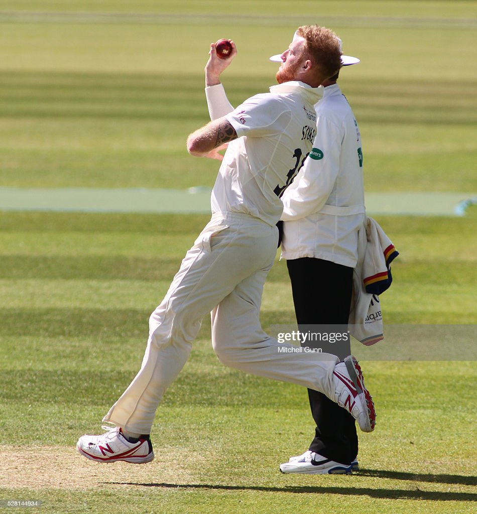 <a gi-track='captionPersonalityLinkClicked' href=/galleries/search?phrase=Ben+Stokes&family=editorial&specificpeople=6688979 ng-click='$event.stopPropagation()'>Ben Stokes</a> of Durham bowling during the Specsavers County Championship Division One match between Surrey and Durham at the Kia Oval Cricket Ground, on May 04, 2016 in London, England.