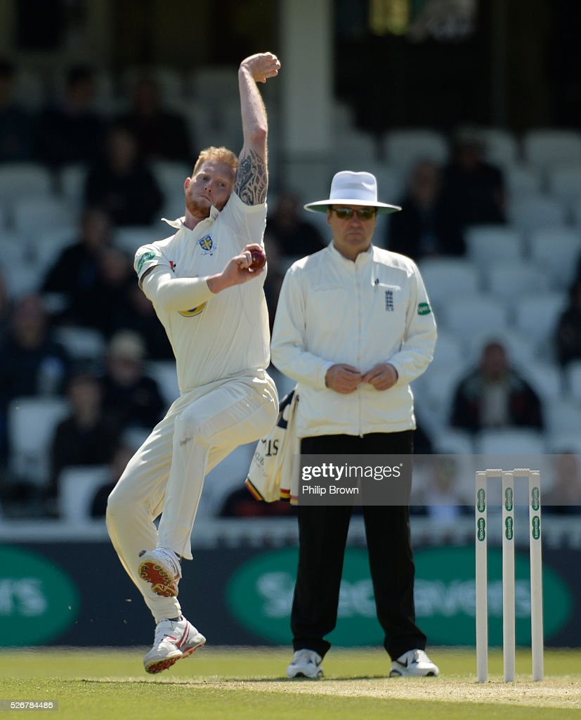 Ben Stokes of Durham bowls during day one of the Specsavers County Championship Division One match between Surrey and Durham at the Kia Oval on May 1, 2016 in London, England.