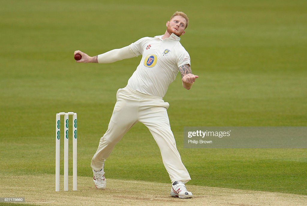 Ben Stokes of Durham bowls during day two of the Specsavers County Championship Division One match between Surrey and Durham at the Kia Oval on May 2, 2016 in London, England.