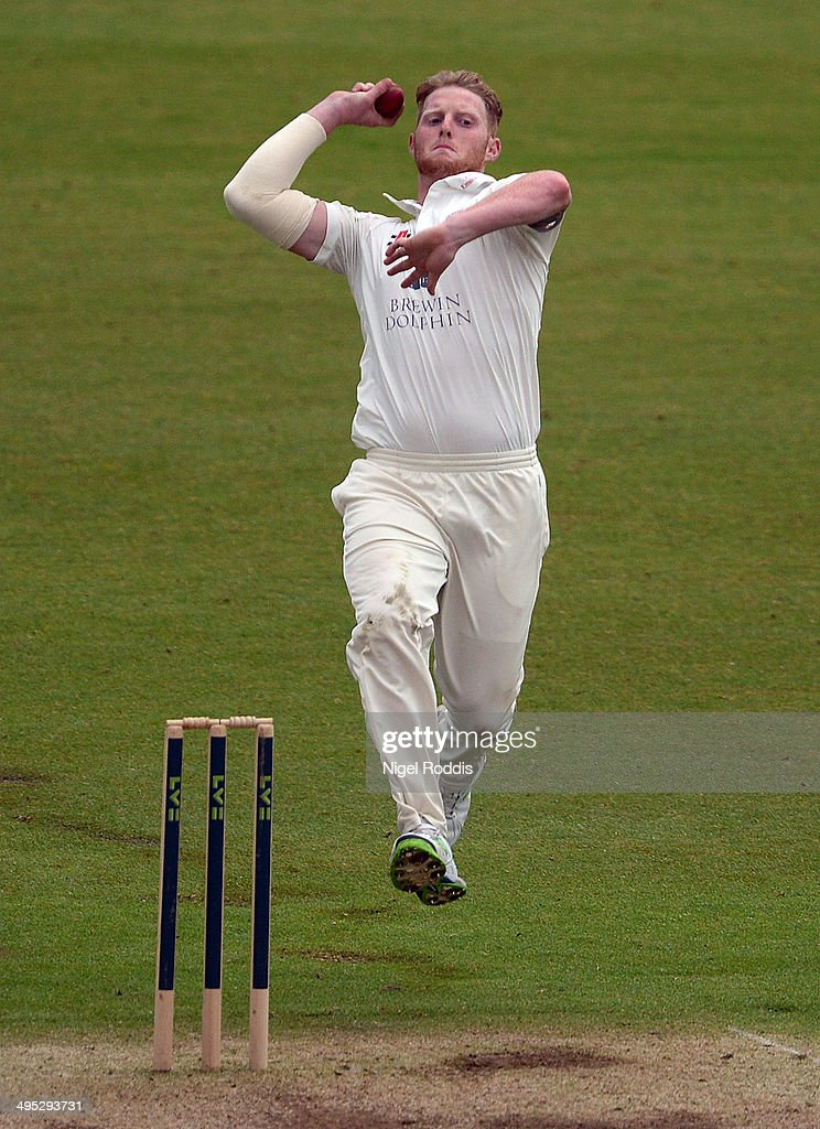 Ben Stokes of Durham bowls during The LV County Championship match between Durham and Middlesex at The Riverside on June 2 2014 in ChesterleStreet...