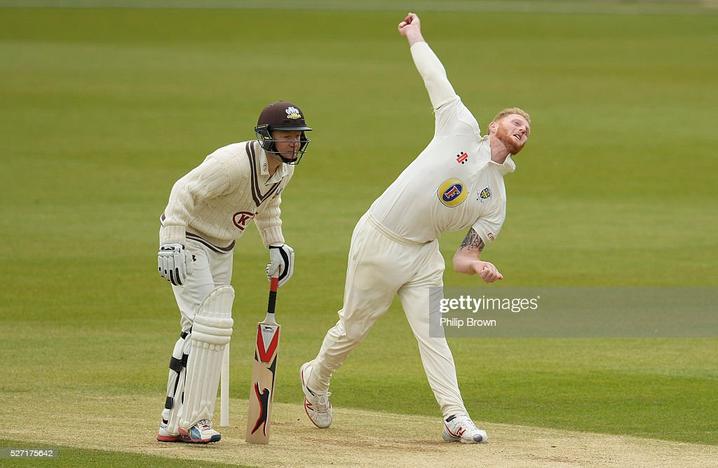 Ben Stokes of Durham bowls past Gareth Batty of Surrey during day two of the Specsavers County Championship Division One match between Surrey and Durham at the Kia Oval on May 2, 2016 in London, England.