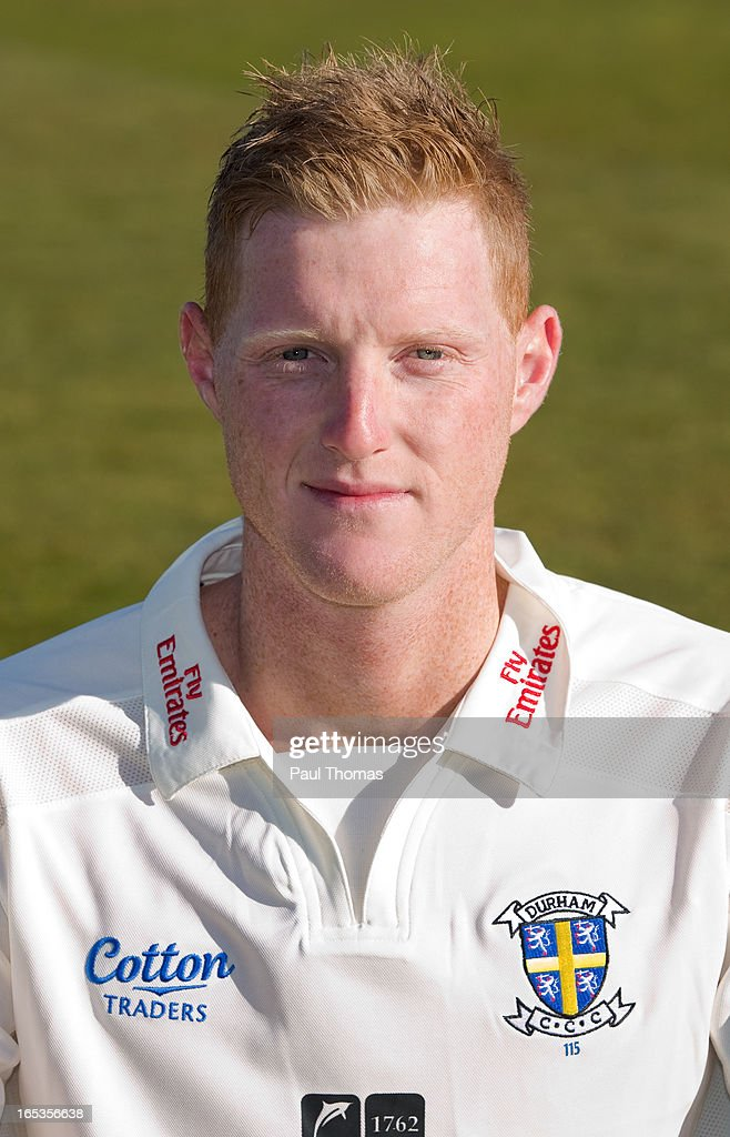 Ben Stokes of Durham CCC wears the LV= County Championship kit during a pre-season photocall at The Riverside on April 3, 2013 in Chester-le-Street, England.