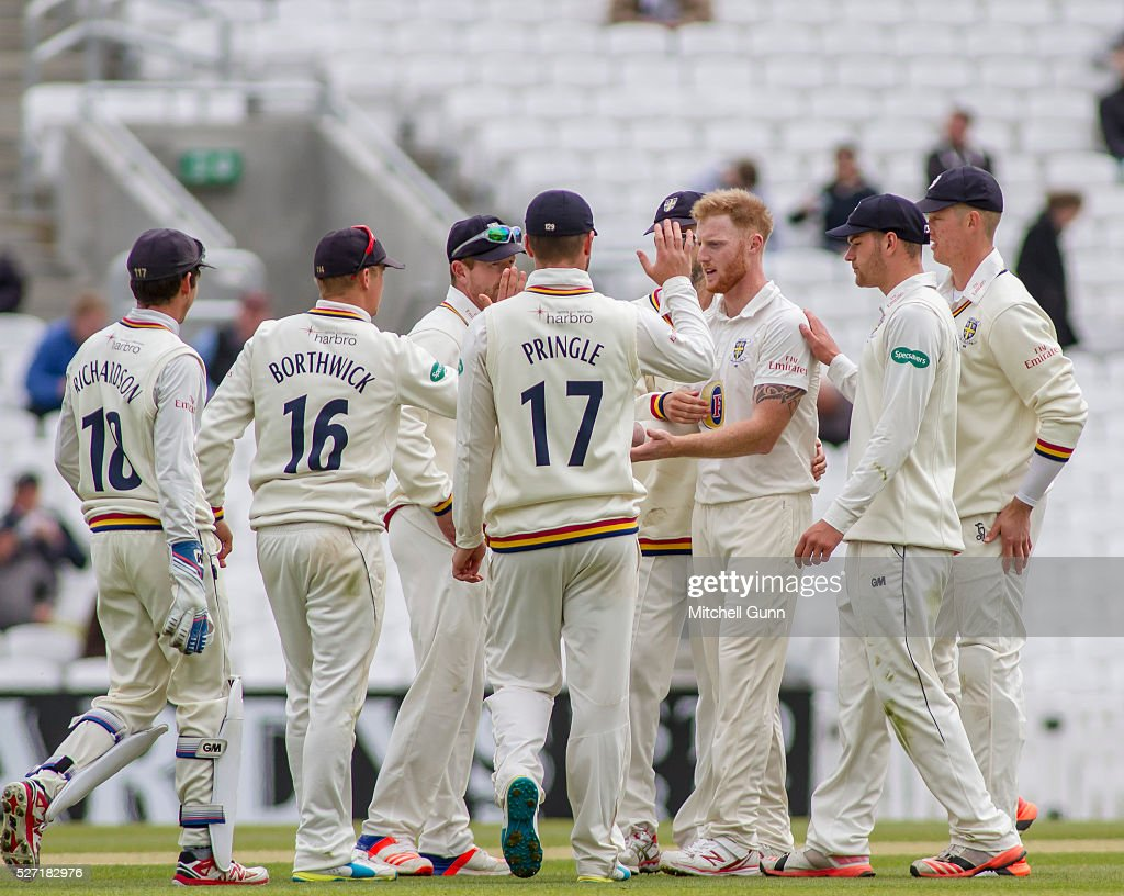 <a gi-track='captionPersonalityLinkClicked' href=/galleries/search?phrase=Ben+Stokes&family=editorial&specificpeople=6688979 ng-click='$event.stopPropagation()'>Ben Stokes</a> of Durham celebrates taking the wicket of Mathew Pillans of Surrey during the Specsavers County Championship Division One match between Surrey and Durham at the Kia Oval Cricket Ground, on May 02, 2016 in London, England.