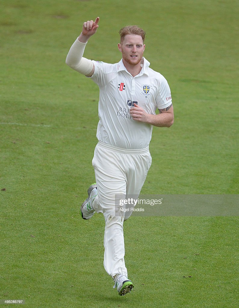 Ben Stokes of Durham celebrates taking the wicket of Neil Dextern of Middlesex (Unseen) during The LV County Championship match between Durham and Middlesex at The Riverside on June 2, 2014 in Chester-le-Street, England.
