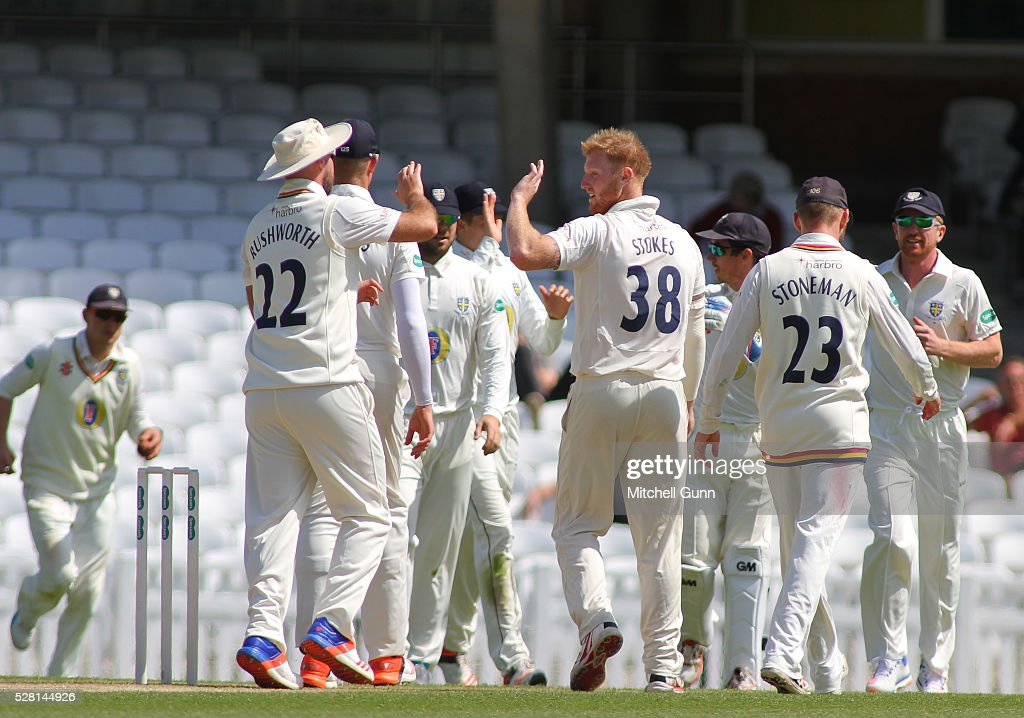 <a gi-track='captionPersonalityLinkClicked' href=/galleries/search?phrase=Ben+Stokes&family=editorial&specificpeople=6688979 ng-click='$event.stopPropagation()'>Ben Stokes</a> of Durham celebrates taking the wicket of Rory Burns of Surrey during the Specsavers County Championship Division One match between Surrey and Durham at the Kia Oval Cricket Ground, on May 04, 2016 in London, England.