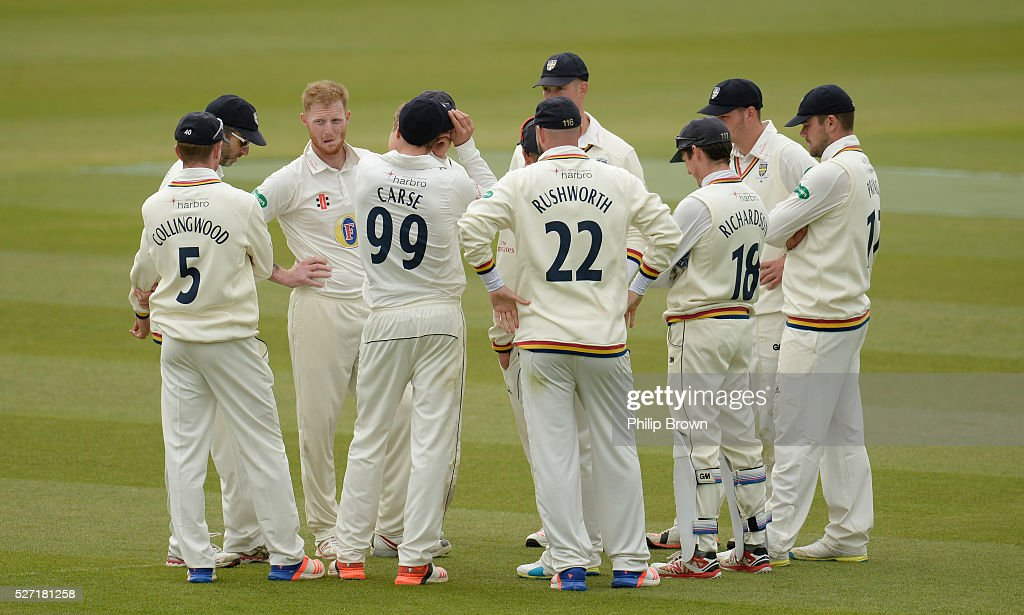 Ben Stokes of Durham is congratulated after dismissing Mathew Pillans of Surrey during day two of the Specsavers County Championship Division One match between Surrey and Durham at the Kia Oval on May 2, 2016 in London, England.