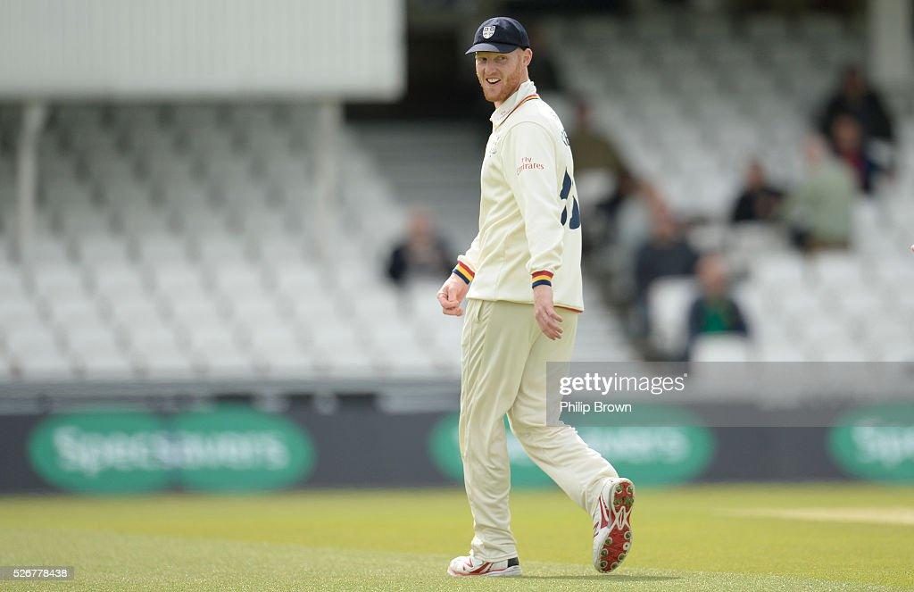 Ben Stokes of Durham looks on during day one of the Specsavers County Championship Division One match between Surrey and Durham at the Kia Oval on May 1, 2016 in London, England.