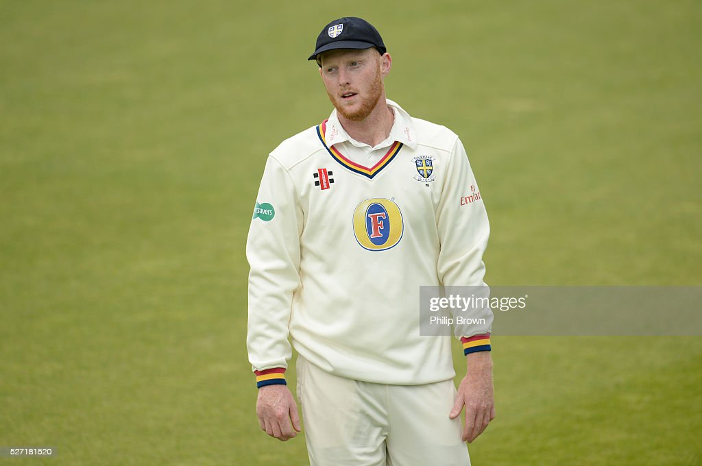 Ben Stokes of Durham looks on during day two of the Specsavers County Championship Division One match between Surrey and Durham at the Kia Oval on May 2, 2016 in London, England.