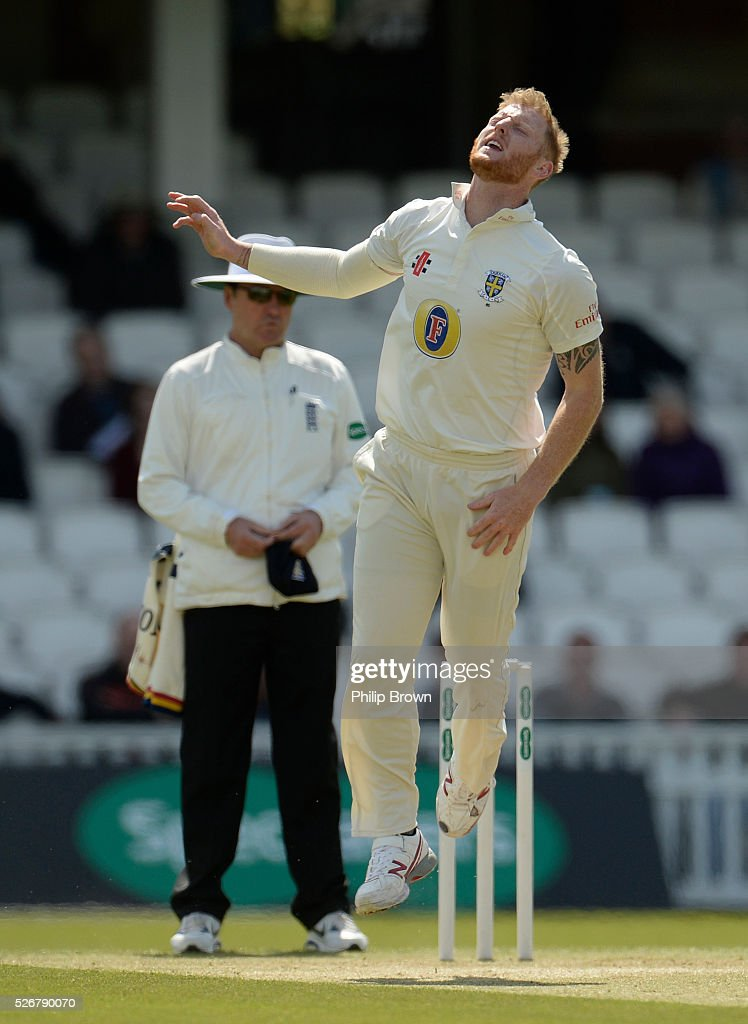 Ben Stokes of Durham reacts during day one of the Specsavers County Championship Division One match between Surrey and Durham at the Kia Oval on May 1, 2016 in London, England.