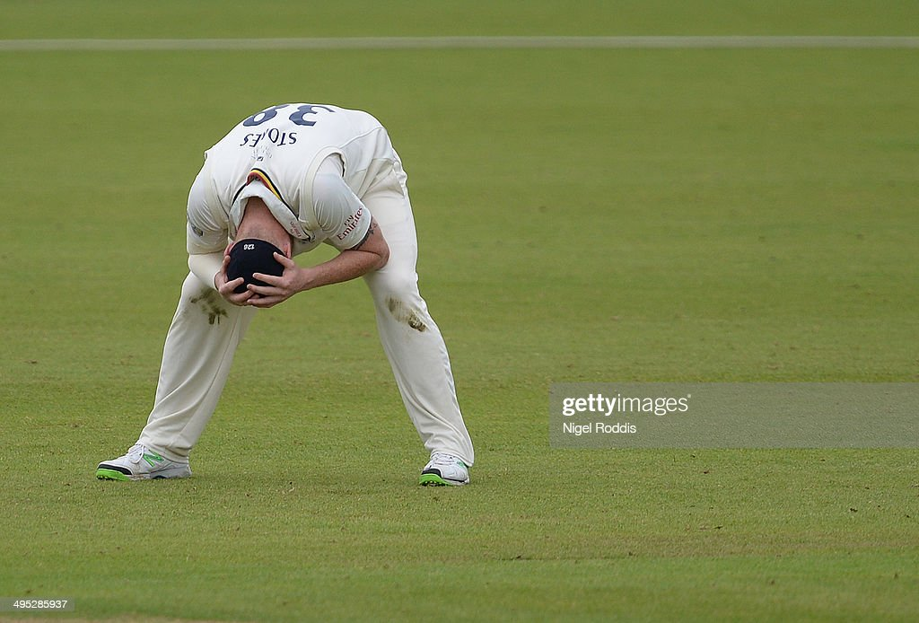 <a gi-track='captionPersonalityLinkClicked' href=/galleries/search?phrase=Ben+Stokes&family=editorial&specificpeople=6688979 ng-click='$event.stopPropagation()'>Ben Stokes</a> of Durham reacts during The LV County Championship match between Durham and Middlesex at The Riverside on June 2, 2014 in Chester-le-Street, England.