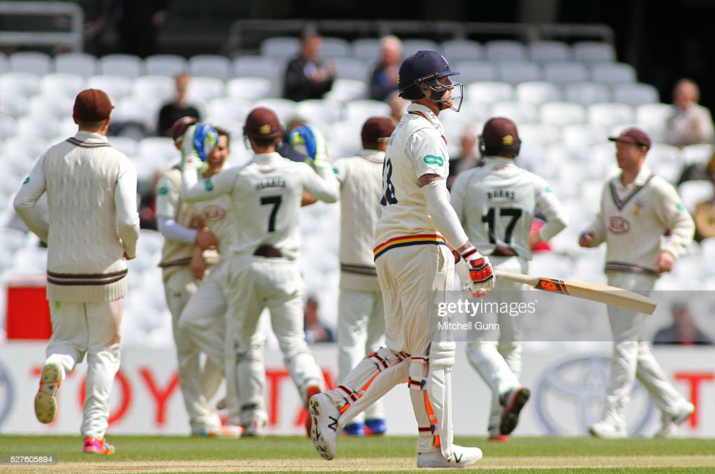 Ben Stokes of Durham walks off after being dismissed by Zafar Ansari of Surrey during the Specsavers County Championship Division One match between Surrey and Durham at the Kia Oval Cricket Ground, on May 03, 2016 in London, England.