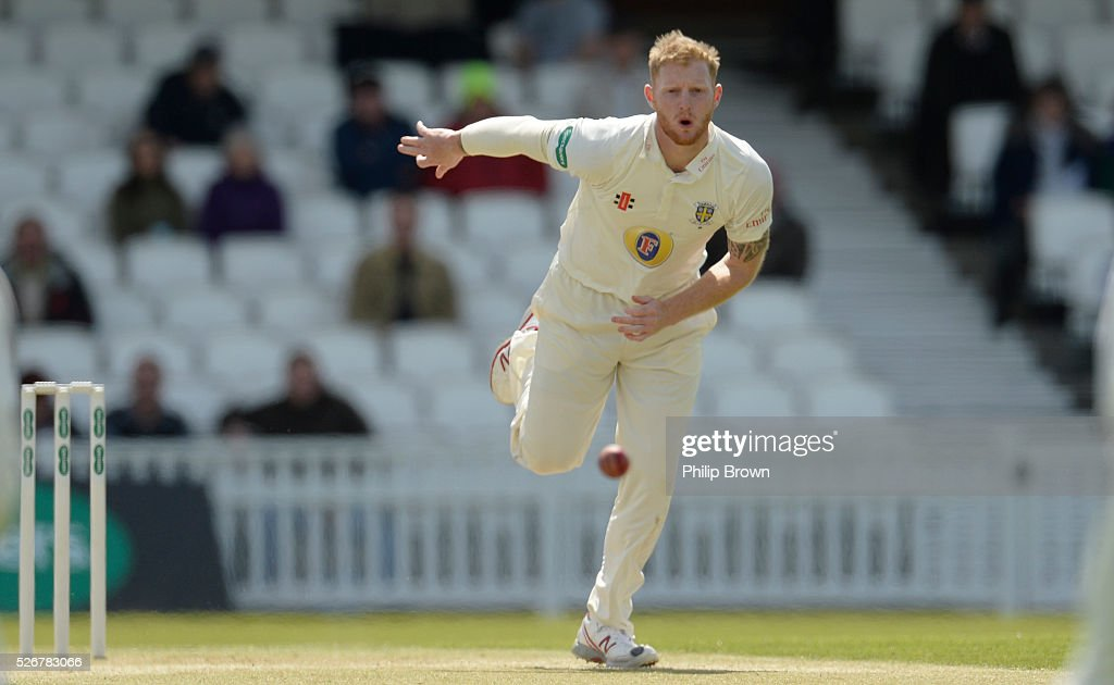 Ben Stokes of Durham watches the ball after bowling during day one of the Specsavers County Championship Division One match between Surrey and Durham at the Kia Oval on May 1, 2016 in London, England.