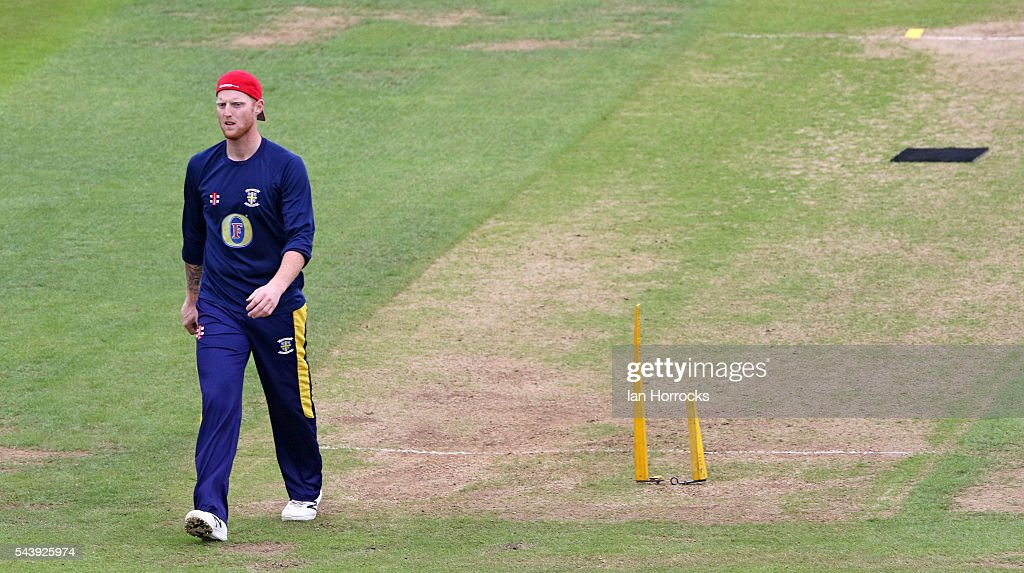 <a gi-track='captionPersonalityLinkClicked' href=/galleries/search?phrase=Ben+Stokes&family=editorial&specificpeople=6688979 ng-click='$event.stopPropagation()'>Ben Stokes</a> of Durham whilst warming up during the NatWest T20 Blast game between Durham Jets and Worcestershire Rapids at Emirates Durham ICG on June 30, 2016 in Chester-le-Street, England.
