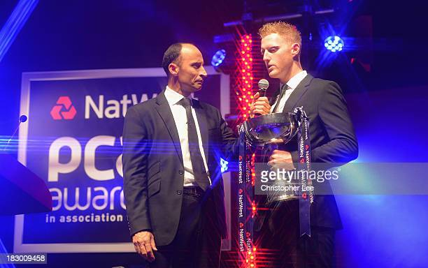 Ben Stokes of Durham with the John Arlott Cup for the NatWest PCA Young Player of the Year Award as he talks to Nasser Hussain during the NatWest PCA...