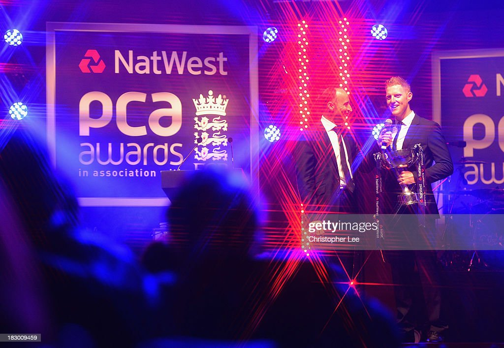 <a gi-track='captionPersonalityLinkClicked' href=/galleries/search?phrase=Ben+Stokes&family=editorial&specificpeople=6688979 ng-click='$event.stopPropagation()'>Ben Stokes</a> of Durham with the John Arlott Cup for the NatWest PCA Young Player of the Year Award as he talks to <a gi-track='captionPersonalityLinkClicked' href=/galleries/search?phrase=Nasser+Hussain&family=editorial&specificpeople=171724 ng-click='$event.stopPropagation()'>Nasser Hussain</a> during the NatWest PCA Awards at The Roundhouse on October 3, 2013 in London, England.