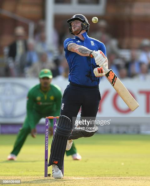Ben Stokes of England aviods a short ball from Hasan Ali of Pakistan during the 2nd One Day International match between England and Pakistan on...