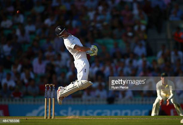 Ben Stokes of England avoids a bouncer bowled by Mitchell Johnson of Australia during day two of the 5th Investec Ashes Test match between England...