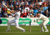 Ben Stokes of England bats as Brad Haddin of Australia keeps wicket during day one of the 1st Investec Ashes Test match between England and Australia...
