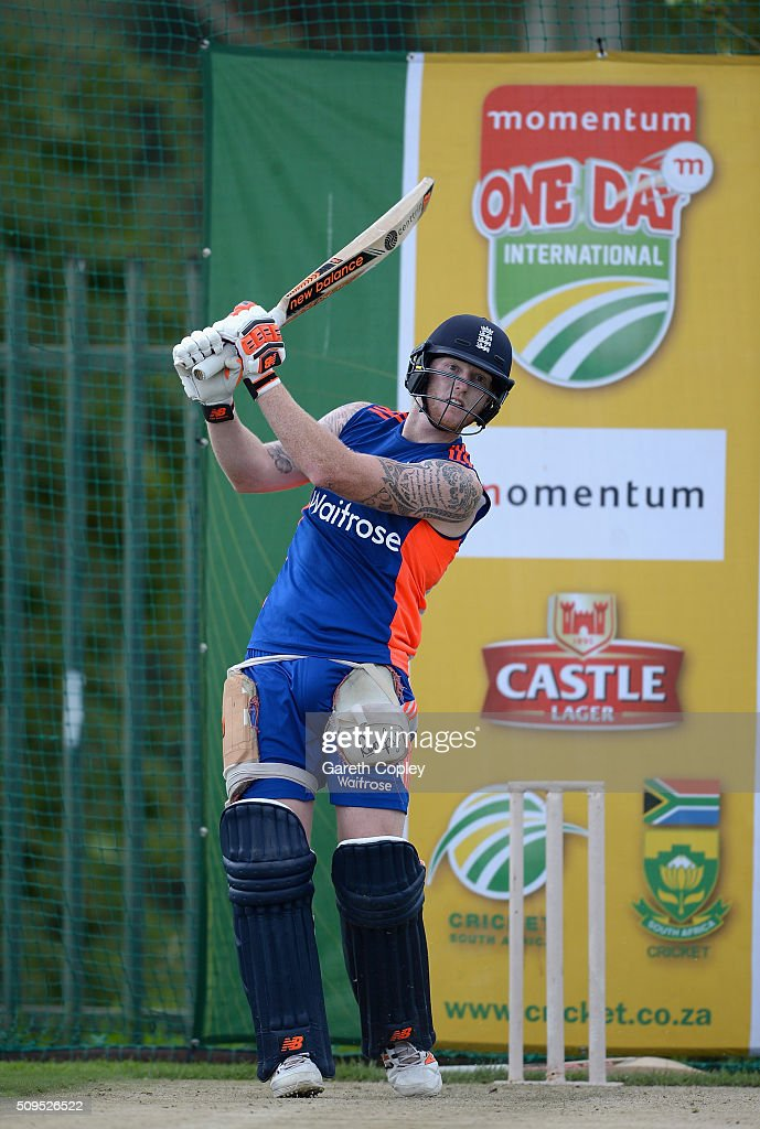 <a gi-track='captionPersonalityLinkClicked' href=/galleries/search?phrase=Ben+Stokes&family=editorial&specificpeople=6688979 ng-click='$event.stopPropagation()'>Ben Stokes</a> of England bats during a nets session at Bidvest Stadium on February 11, 2016 in Johannesburg, South Africa.