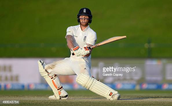 Ben Stokes of England bats during day five of the 1st Test between Pakistan and England at Zayed Cricket Stadium on October 17 2015 in Abu Dhabi...