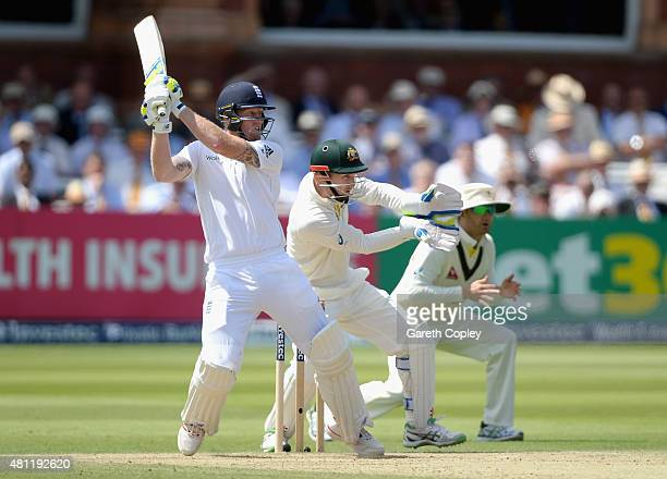 Ben Stokes of England bats during day three of the 2nd Investec Ashes Test match between England and Australia at Lord's Cricket Ground on July 18...