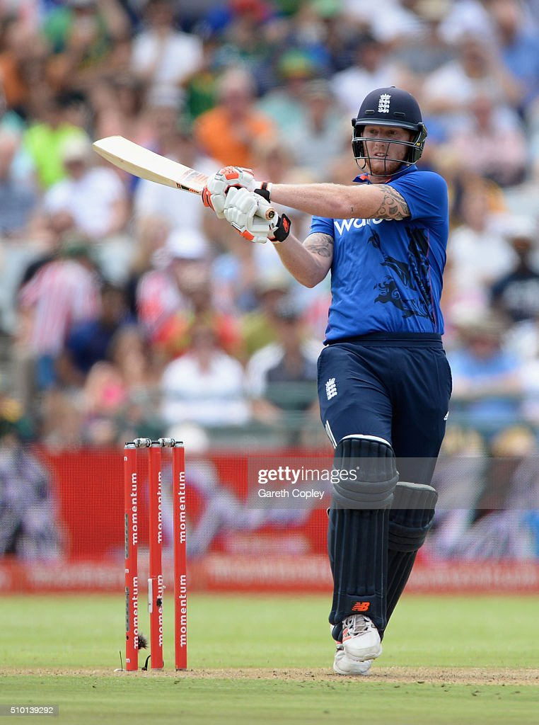 Ben Stokes of England bats during the 5th Momentum ODI match between South Africa and England at Newlands Stadium on February 14, 2016 in Cape Town, South Africa.
