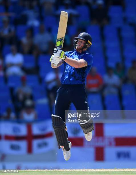 Ben Stokes of England bats during the first One Day International between the West Indies and England at Sir Vivian Richards Cricket Ground on March...