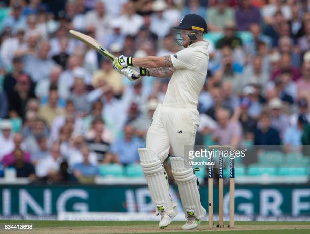 Ben Stokes of England batting during day two of the 3rd Investec test between England and South Africa at The Kia Oval on July 28 2017 in London...
