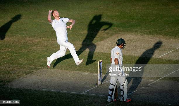 Ben Stokes of England bowls during day three of the 2nd test match between Pakistan and England at Dubai Cricket Stadium on October 24 2015 in Dubai...