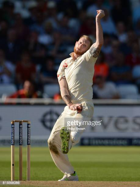 Ben Stokes of England bowls during the third day of the 2nd Investec Test match between England and South Africa at Trent Bridge cricket ground on...