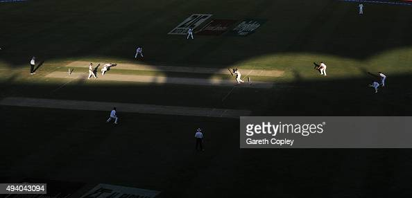 Ben Stokes of England bowls to Pakistan captain MisbahulHaq during day three of the 2nd test match between Pakistan and England at Dubai Cricket...