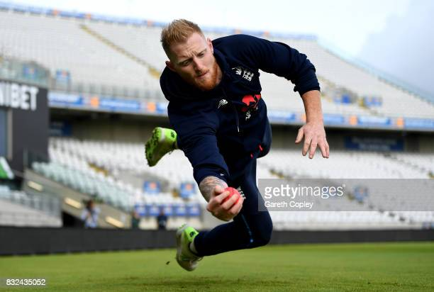 Ben Stokes of England catches during a nets session at Edgbaston on August 16 2017 in Birmingham England