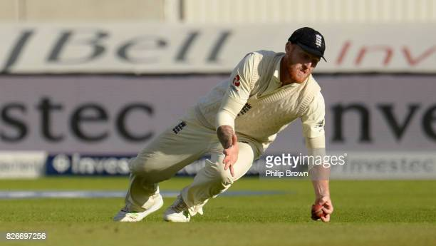 Ben Stokes of England catches Kagiso Rabada of South Africa during the second day of the 4th Investec Test match between England and South Africa at...