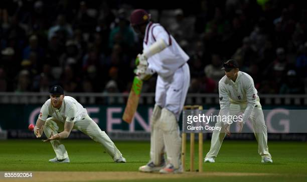 Ben Stokes of England catches out Alzarri Joseph of the West Indies during day three of the 1st Investec Test between England and the West Indies at...