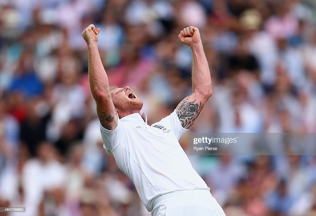 Ben Stokes of England celebrates after taking the wicket of Adam Voges of Australia uring day two of the 5th Investec Ashes Test match between...