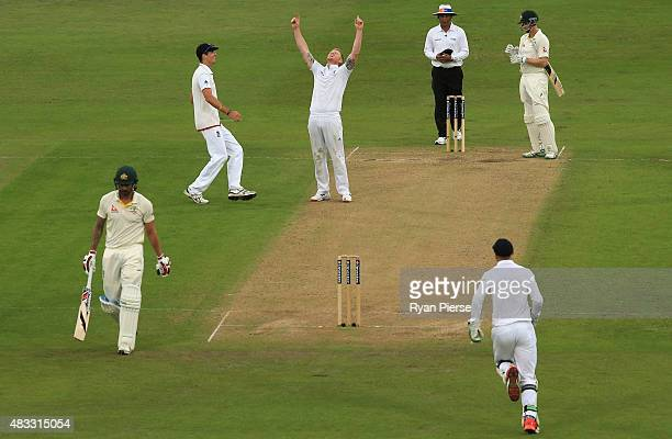 Ben Stokes of England celebrates after taking the wicket of Mitchell Johnson of Australia during day two of the 4th Investec Ashes Test match between...