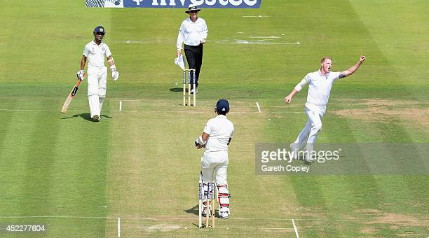 Ben Stokes of England celebrates bowling Cheteshwar Pujara of India during day one of 2nd Investec Test match between England and India at Lord's...