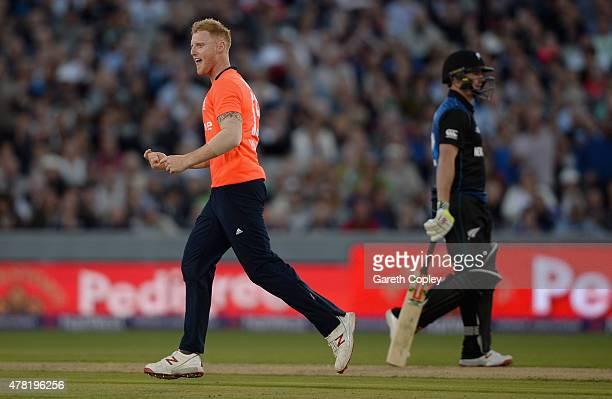 Ben Stokes of England celebrates dismissing Luke Ronchi of New Zealand during the NatWest International Twenty20 match between England and New...