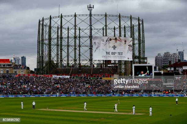 Ben Stokes of England celebrates his century during day two of the 3rd Investec Test match between England and South Africa at The Kia Oval on July...