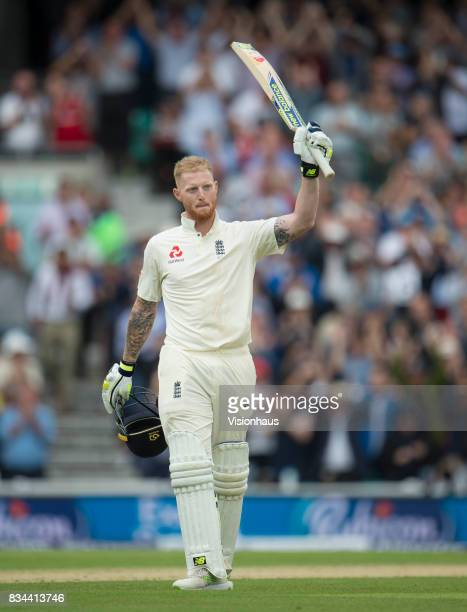 Ben Stokes of England celebrates his century during day two of the 3rd Investec test between England and South Africa at The Kia Oval on July 28 2017...