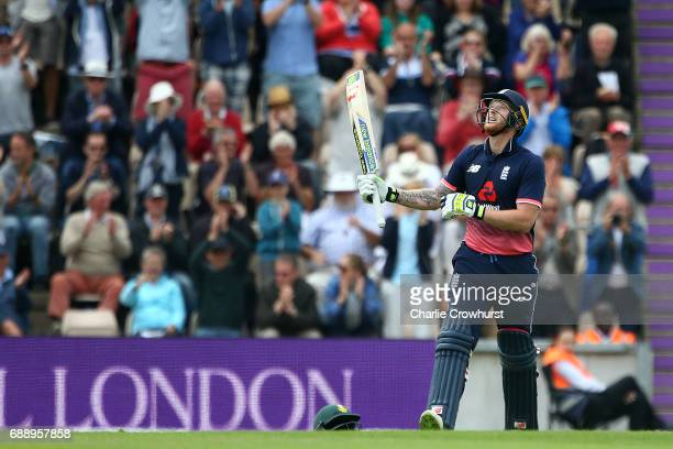 Ben Stokes of England celebrates his century on during the Royal London ODI match between England and South Africa at The Ageas Bowl on May 27 2017...