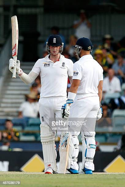 Ben Stokes of England celebrates his half century during day four of the Third Ashes Test Match between Australia and England at WACA on December 16...