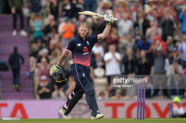 Ben Stokes of England celebrates reaching his century during the 2nd Royal London oneday international cricket match between England and South Africa...