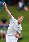 Ben Stokes of England celebrates taking the wicket of Hashim Amla of South Africa during day one of the 4th Test at Supersport Park on January 22...